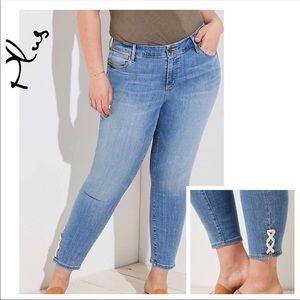 LOFT Plus Lace Up Cuff Skinny Crop Jeans